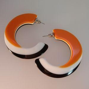 Retro Vintage Lucite Hoop Earrings